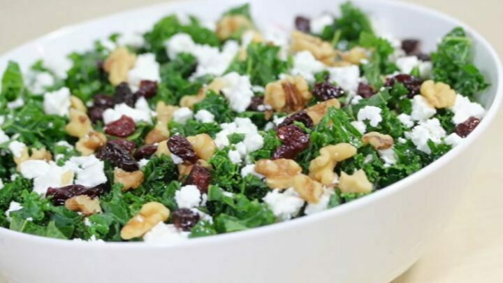 KALE SALAD WITH CRANBERRIES AND SUNFLOWER SEEDS
